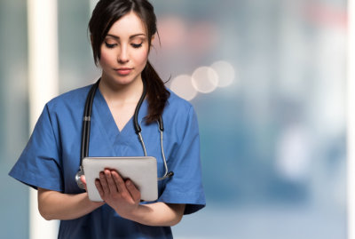 doctor using her tablet
